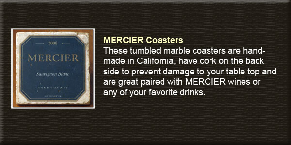 Mercier, hand made, tumbled marble coasters.